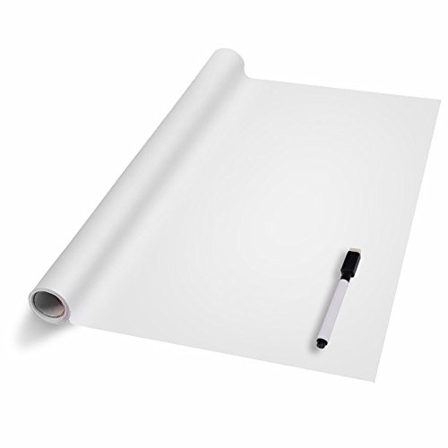Poster Board Adhesive (Dry Erase Wall Decal, KINDAX Self-Adhesive Wall Sticker Wall Paper Whiteboard Sticker for School, Office, Home 17.8 by 78.7 Inches, Free 1 Marker Pen (White))