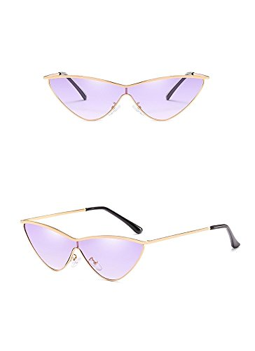 Triangle de Dorada Gris Lente Montura de Sol blanco Oro Moda de gradiente sol marco Siamese RFVBNM de Personality gradiente Gafas Sunglasses violeta Gafas Women's 7TZawxqS