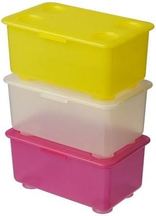 GLIS caja de almacenaje con tapa, rosa/blanco, amarillo, 3 unidades, tamaño 17 x 10 cm, un lugar perfecto para keep bolígrafos, lápices y accesorios pequeños.