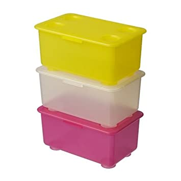 GLIS caja de almacenaje con tapa, rosa/blanco, amarillo, 3 unidades,