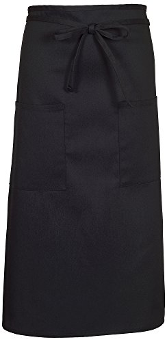 Long Server - Fame Adult's Two Pocket Long Bistro Apron-Black-O/S F54-83407