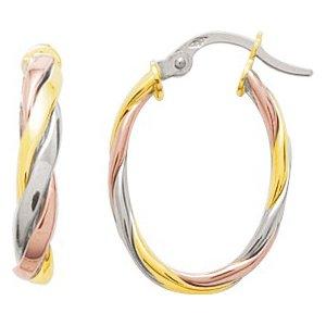 So Chic Bijoux © Boucles d'oreilles Femme Créoles Ovales Torsade Tricolores Or Jaune Blanc & Rose 750/000 (18 carats)