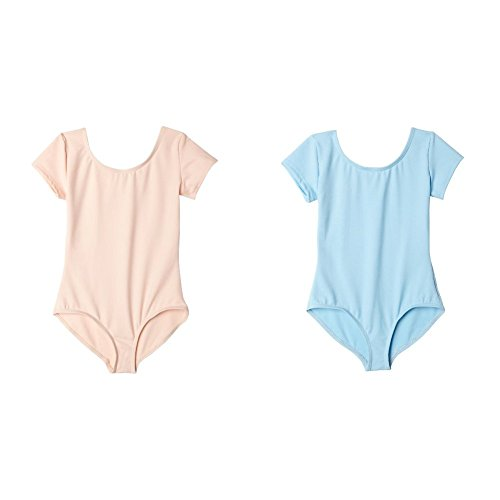 (Capezio Girls 2 Pack Team Basic Short Sleeve Leotard Ballet Pink/Light Blue, Medium)