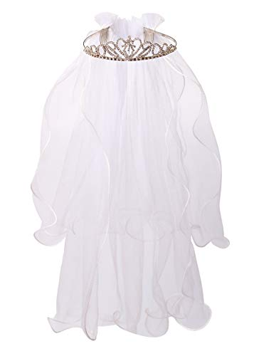 Flower Girls White First Communion Veil Headband with Bow (One size, White (Rhinestone Crown))