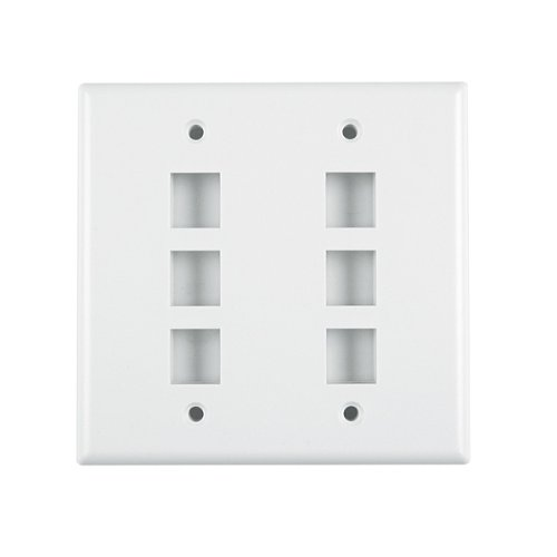 Hellermann Tyton FPDGSIX-FW Dual Gang 6 Port Flush Mount Faceplate, ABS 94V-0, Office White