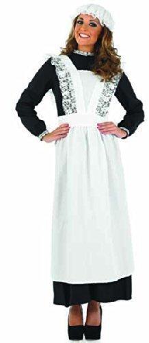 Armes Viktorianische Waschküche Zimmermädchen Diener Haushälterin Kostüm Outfit Langes Kleid Übergröße 36 - 54 - Schwarz & Weiß, 44 - 46