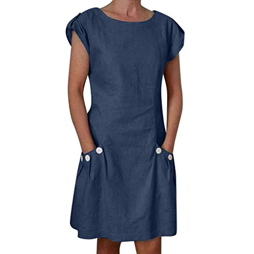 Sttech1 Women's Casual Linen Dress Solid Color Cotton Button Pocket Short Sleeve Zipper Back Loose Mini Dress