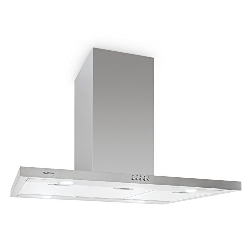 KLARSTEIN Hermosa Island Mount Range Hood • 35.4 Inch • 4 x 20 W Halogen Cooktop Lighting • 3 Power Levels • Push Button Control • Stainless Steel by KLARSTEIN