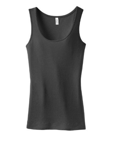 District Ladies Junior Fit 1x1 Rib Tank Top DT235 Charcoal XX-Large