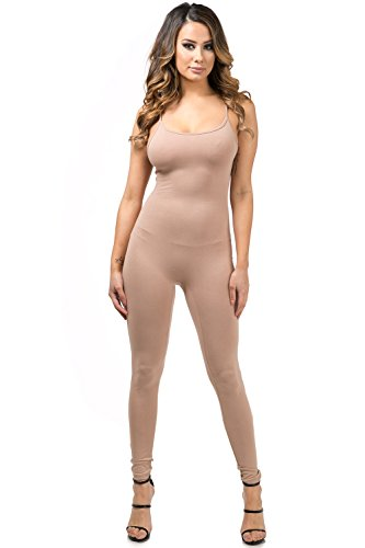 Staand Apparel Womens Sexy Spaghetti Strap Catsuit Unitard Tank Jumpsuit - One Piece Bodysuit Rompers Playsuit Party (Medium, Mocha)