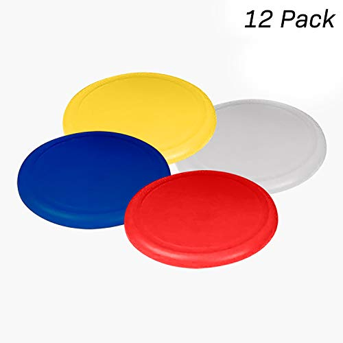 Kidsco Flying Discs, Frisbee's - 12 Pack 4 Bright Colors - for Boys and Girls by Kidsco