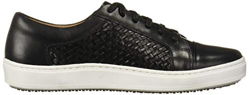MARC JOSEPH NEW YORK Men's Leather Made in Brazil Luxury Lace-up Detail Fashion Sneaker, Black Brushed Nappa/Weave, 11.5 M US