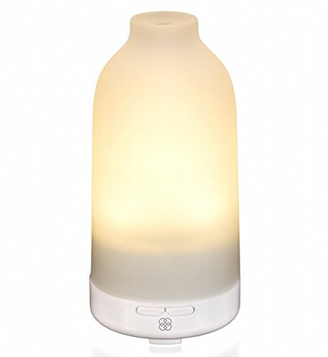 Deneve Essential Oil Diffuser Botella - Glass Aromatherapy Oils Humidifier and Mister Perfect Decor Gift for a Peaceful Home Wellness Workout Yoga & Meditation or Office Space (Warm White)