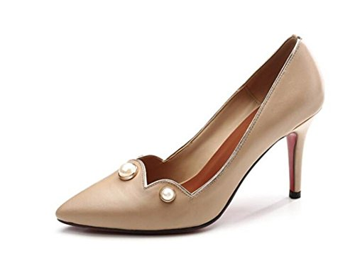 Lady's Pointe Toe Court Chaussures Mince Avec Talons Chaussures Rivet Basse Simple Chaussures Cuir Chaud Basse Chaussures , apricot , 36