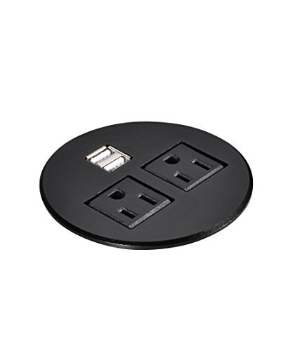 Kungfuking 4330214899 Aluminum Alloy Surface Data Hub Tap Grommet AC Outlet and 2 X USB Ports with 6 ft Heavy Duty Power Cord...