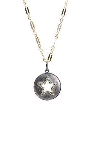 Pave Diamond Star Medallion Pendant Necklace- Oxidized Sterling Silver- 18