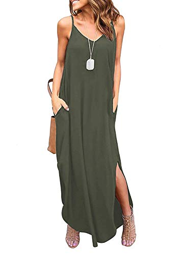 ReachMe Womens Chevron Tank Dress Loose Maxi Dresses with Pockets Casual Summer Dress(Green,XL) ()