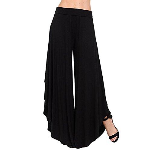 Femmes Noir Harem Yoga Sexy Unie Hibote Summer Lâche Pantalon Doux Femme Longue Bloomers Split Haute Tissu Confortable Décontracté Couleur Taille En RBXqxB
