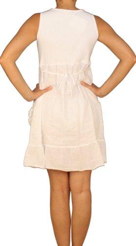 Saxx Saxx Saxx maniche Bianco Tunica Vestito Donna a Basic Senza Collo U wFwrpOqH