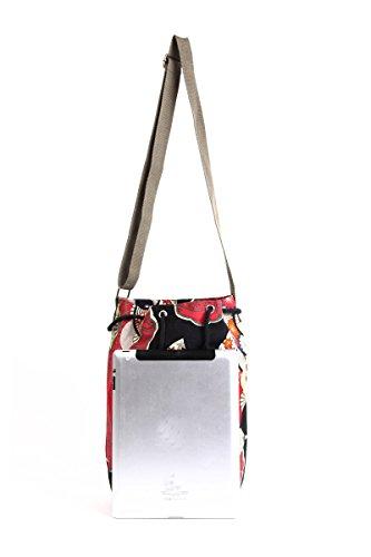 à Épaule Sac Rouge Femmes Impression Seau Sac Bandoulière YuanDian Sac Style Denim Messenger Drawstring Ethnique Rétro xnBqwqRU4P