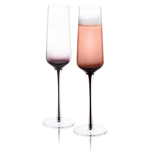 JoyJolt Black Swan Champagne Glasses, Premium Lead Free Crystal Glassware, 7.3 Oz Capacity, Set Of 2