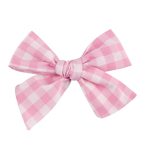 Handmade Light Pink Gingham Fabric Bow For Girls, For Newborns Through Toddlers (1 Size Fits All) - Prima Bows