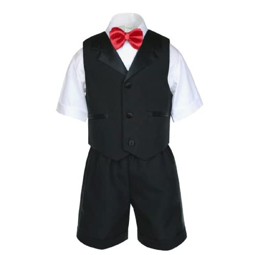 Boys Infant Toddler Formal Black Vest Sets Shorts Suits EXTRA COLOR Bow tie 0-4T