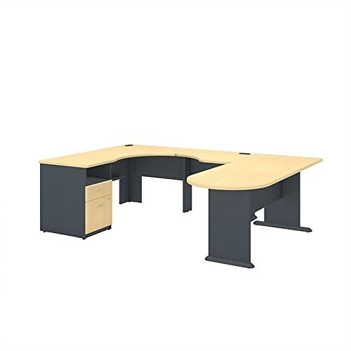 Series A U Shaped Corner Desk with Peninsula and Storage in Beech and Slate ()