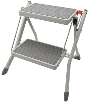 Hafele 2 Steps Stool, 220 lbs load capacity, 550x500x50mm, Folding, Gray by Hafele