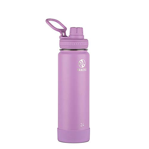 Takeya 51185 Actives Insulated Stainless Steel Water Bottle with Spout Lid, 24 oz, Lilac (Vacuum Insulated 24 Oz Stainless Steel Hydration Bottle)