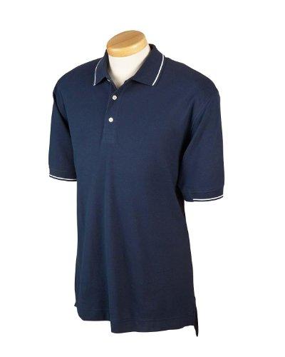 Devon & Jones Men's Pima Pique Short-Sleeve Tipped Polo>S NAVY/WHITE D113 (Tipped Pima Pique Polo)