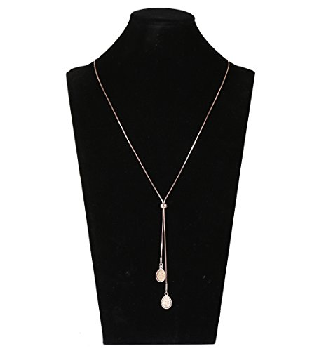 Lariatneck Long Necklaces for Women Y Lairt Necklace Casual Snake Chain Adjustable Druzy Drop Pendant (Rose Gold) (Necklace Gold Rose Snake)