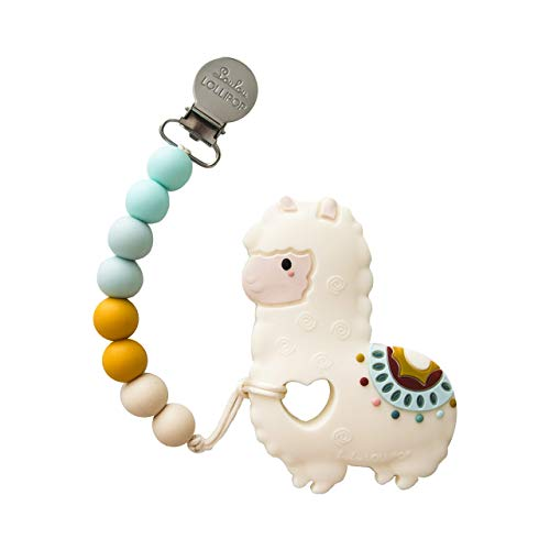 Loulou Lollipop Llama Soft Silicone Teether – Premium Baby Teether Toy with Holder Set Massaging Teether