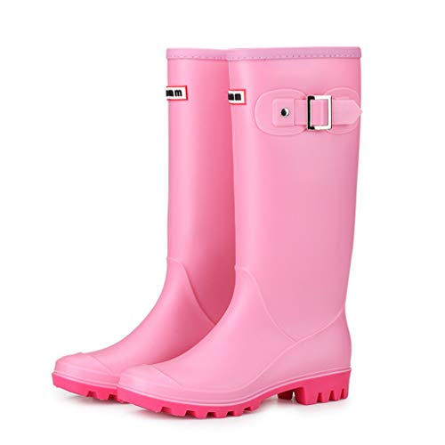7219cb180a92e2 Xinantime Ladies Mid Calf Rain Booties Rubber Knee-High Waterproof Classic  Rainboots Round Toe Shoes