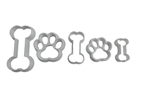 Print Cookie Cutter - Paw Prints and Bones Cookie Cutters (5 Pack)