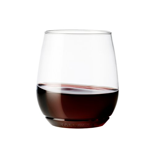 Party Wine Glass (TOSSWARE 14oz Vino - recyclable wine plastic cup - SET OF 12 - stemless, shatterproof and BPA-free wine glasses)