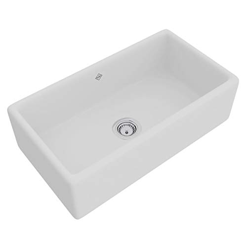 ROHL RC3318WH White Shaws Original (Lancaster) Single Bowl Apron Front Fireclay Kitchen Sink