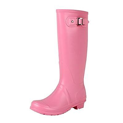 Guilty Heart - Waterproof Knee High Wellington Rubber Rainboots Rain Footwear, Pink Rubber, 10 B(M) US