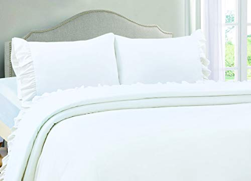 VINTAGE SELECT Queen (White) 4 Piece Ruffle Hem Ultra Soft Sheet Set Wrinkle & Fade - Queen Vintage Sheets Bed