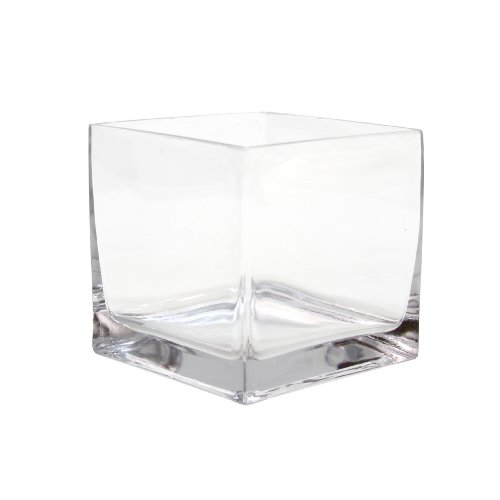 Rose Design Glass Candy (Koyal Wholesale 404345 6-Pack Cube Square Glass Vases, 6 by 6 by 6-Inch)