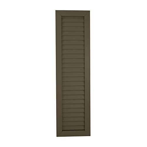SUNTOWN - Aluminum Shutters (2 Pack) - Classic Louver Style Decorative - Includes Matching Color Screws (Commercial Brown, 13.5