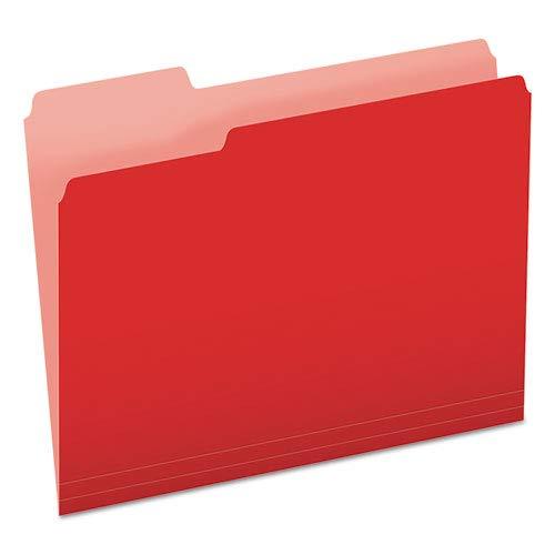 Pendaflexカラーファイルフォルダ、1 / 3カットトップタブ、手紙、レッド/ライトレッド、100 /ボックス   B01092PH2O