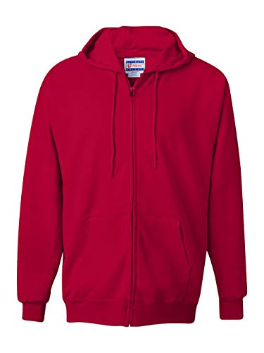 Hanes Men's Full Zip Ultimate Heavyweight Fleece Hoodie, Deep Red, (Red Zipper Sweatshirt)