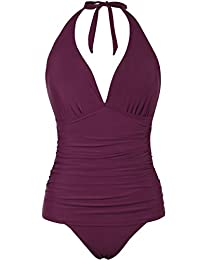 c7a09922308 Hilor Women's Halter One Piece Swimsuits Shirred Tummy Control Swimwear  Skirted Bathing Suits Monokinis