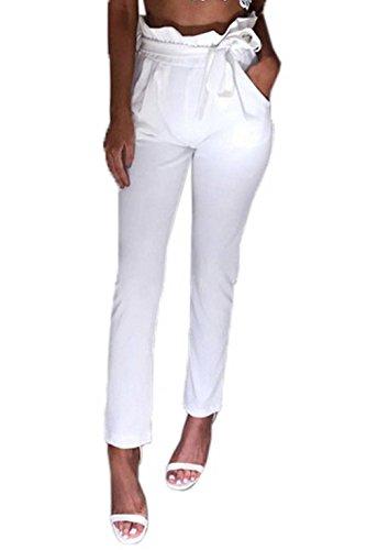 Couleur Taille Slim Pantalon Femme Plissé Blanc Bigood Casual Uni Longue Haute q0dwXdT