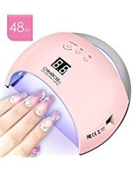 48W UV Led Nail Dryer, CHIMOCEE Smart Curing Lamp, Auto Sensor Nail Gel Polish Dryer With 4 Timer Setting, Professional For All Brand Type (Pink)