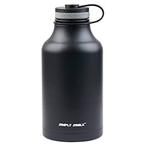 Simply Simily Beer Growler and Stainless Steel Water Bottle - BPA Free - Wide Mouth - Double Wall Vacuum Insulation - 64 oz, Black