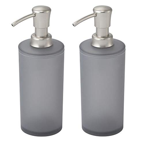 - mDesign Frosted Plastic Refillable Soap Dispenser Pump Bottle for Bathroom Vanity Countertop, Kitchen Sink - Holds Hand Soap, Dish Soap, Hand Sanitizer, Essential Oils - 2 Pack - Charcoal Gray/Brushed