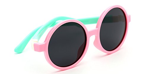 TIJN Kids Toddler Flexible Rubber Polarized Round - Glasses Flexible Toddler