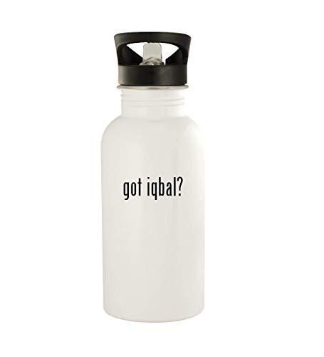 got iqbal? - 20oz Stainless Steel Water Bottle, White